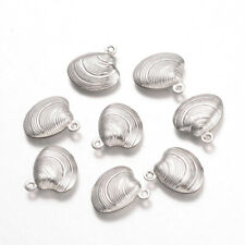 50pcs Stainless Steel Shell Pendants Charms Link DIYJewelry Making