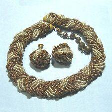 Choker & earrings metalic glass seedbeads vintage csj