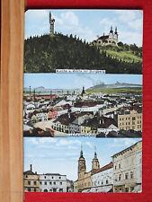 3-Bild-Farbkarte - Jägerndorf / Krnov - Schlesien - gel 1918 - Warte am Burgberg