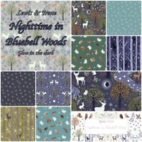 Lewis & Irene NIGHTTIME in BLUEBELL WOODS 100% Cotton Patchwork Glow in the Dark