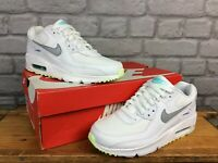 NIKE UK 4 EU 36.5 AIR MAX 90 LEATHER WHITE TRAINERS RRP £80 CHILDRENS LADIES AD