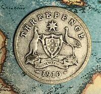 1910 AUSTRALIA SILVER THREEPENCE. FREE SHIPPING