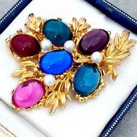 Stunning Large Goldtone Birds Nest Brooch Pin - Vintage Multi Coloured Cabochons