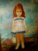 Lrg 37x48 Vintage 1963 Antonio Gantes Portrait Child Girl w/ Circus Oil Painting