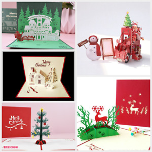 3D Christmas Card Pop Up Merry Christmas Greeting Card Gold Red Green Xmas Card