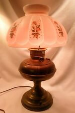 Rayo Brass Oil Lamp Converted to Electric, Pink, White Hand-Painted Glass Shade