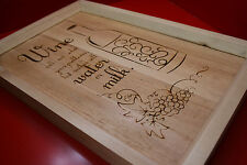 Laser Engraved Wooden Sign Wine Quote Personalize Custom 300 x 400