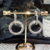 Rhinestone Circle Ear Hook Drop Dangle Hoop Earrings Women Fashion Jewelry LD