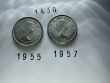 Lot 1430: CANADA Silver quarters 25 cents (2) 1955 1957 FREE SHIPPING
