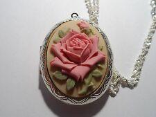 BEAUTIFUL PINK ROSE CAMEO LOCKET