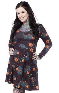 Sourpuss Feline Spooky Pumpkins Cats Halloween Goth Punk Skater Dress SPDR466