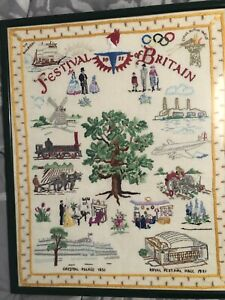 """FESTIVAL OF BRITAIN 1951 RARE FRAMED EMBROIDED WALL HANGING 19"""" X 15.5"""" -CARDIFF"""