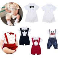 Baby Boys Wedding Christening Formal Outfit Romper+Suspender Shorts Suit Tuxedo