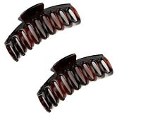 Set Of 2 Tort Brown Large Hair Claw Clip Clamp Grip Curved Teeth Sausage claw UK