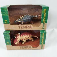 Terra Battat Dinosaur Figures Pachyrhinosaurus Euoplocephalus Tutus New in Box