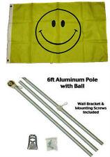 2x3 2'x3' Smiley Happy Face Smile Flag Aluminum Pole Kit Gold Ball Top