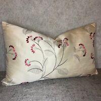 "JOHN LEWIS ""Grace"" Elegant Gorgeous Cushion Cover Embroidered Rose Fabric 12""x20"