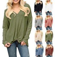 UK Womens Long Sleeve Polyester Linen Kaftan Ladies Baggy Blouse Tee Shirt Tops