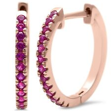 Rose Gold Plated Blue Sapphire  .925 Sterling Silver Hoop Earring