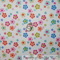 BonEful Fabric FQ Cotton Quilt White Bright Pink Blue Green Yellow Flower Dot US