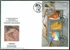 CENTRAL AFRICA 125th MEMORIAL ANNIVERSARY OF VINCENT Van  GOGH  SHEET  FDC