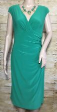 Lauren by Ralph Lauren Sz 10 Green Sleeveless Sheath Wrap Dress Draped Womens