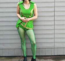 Vintage 1960s Dance Outfit Costume Green Polka Dot Gold Sequins Sz Small Medium