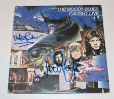THE MOODY BLUES BAND SIGNED CAUGHT LIVE +5 VINYL RECORD x3 w/COA PROOF