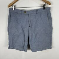 Trenery Mens Shorts 34 Slim Fit Blue Zip Closure Bermuda Linen Blend Pockets