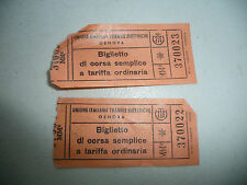 LOT OF 2 ITALY ITALIAN  TRAIN OR TRAM OR BUS TICKET FROM GENOA 1953