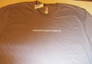"Apple Logo ""Designed by Apple in California."" LGray T-shirt by Apple - NEW - L"