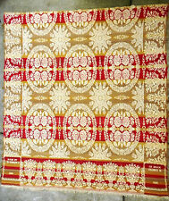 Antique (1860) Red Gold Tan Ivory Fringed Woven Jacquard Coverlet by D. Cosley