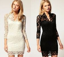 JOHN ZACK FITTED V NECK STRETCH BODYCON LACE DRESS BLACK CREAM NEW 6 - 20