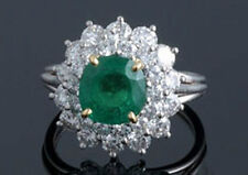 0.78ct Diamond Emerald Solid Gold Engagement Women's Ring Christmas Holidays