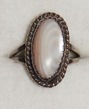 VINTAGE ANTIQUE STERLING 925 SOLID SILVER WHITE AGATE OVAL RING ART DECO