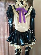 Latex Pure Rubber Woman Cosplay Maid Uniform Dress Skirt with Lace Size:XXS-XXL