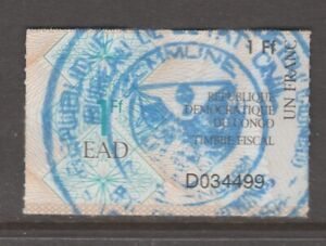 Africa France revenue fiscal stamp 2-19-21 as seen - Congo - shows some Wear
