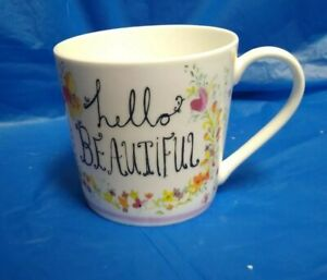 ROSE of ENGLAND Hello Beautiful flowers floral Fine Bone China Mug/Cup 12oz