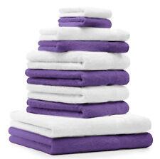 Betz Juego de 10 toallas CLASSIC 100% algodón de color morado y blanco