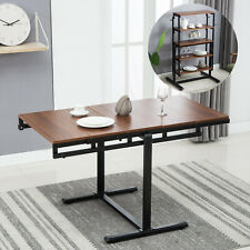 Wood Dining Table Multi-Function 2In1 Convertable 4 Tier Shelving Home Furniture