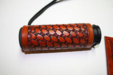 Custom Leather Hand Tooled Basket Weave Grip Covers Western Style Border