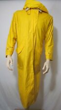 Vtg Nautica Hooded Long Rain Coat Jacket Yellow Wool Lined Sailing Mens M w/ Hat