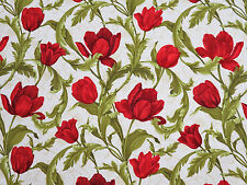 Tulip Festival Scroll Red Floral Cotton Benartex Fabric #2665 By the Yard