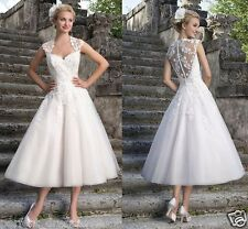New White/Ivory Lace Tea Length Formal Bridal Gown Short Wedding Dress Size 6-18