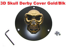 3D Skull Derby Cover Gold & Black Fits Harley Outer Primary Big Twin 1970-1999