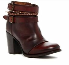 Freebird Steven Lion Leather Dark Brown Cognac Ankle Boot SIZE 7 Boho Moto NWT