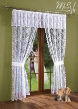 Net Lace Curtain Window Door set White with Pelmet Valance and Tiebacks