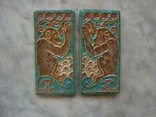 2 Mirrored Royal Delft Cloisonne tiles: monkey  rare animal