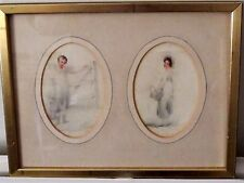 Early 19th C watercolour Portrait sketches pencilled to reverse Wheatley