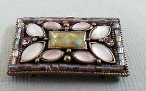1 gorgeous rhinestone double holed bracelet bead, rectangular shape  35mm.